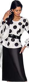 Nubiano Dresses DN3011 - Polka Dot Print Peplum Dress With Double Flounce Sleeves