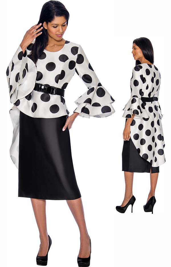 Nubiano Dresses DN3011 - Polka Dot Print Peplum Dress With Double Flounce Sleeves