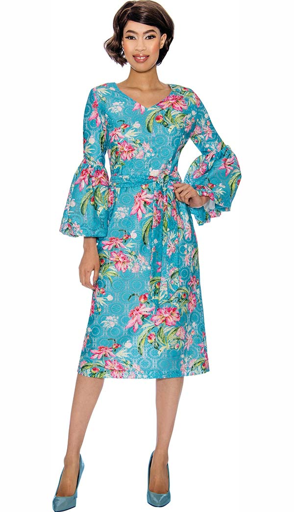 Nubiano Dresses DN3021 - Floral Print Dress With Flounce Sleeves