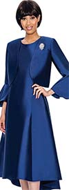 Nubiano Dresses DN3072-Navy - Church Dress With Pleats & Bell Cuff Sleeve Bolero