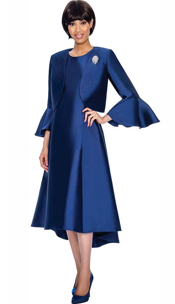 Nubiano Dresses DN3072-Navy - Church Dress With Pleats & Bell Cuff Sleeve Bolero