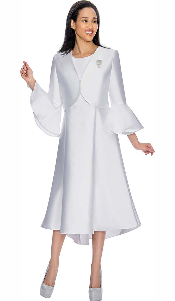Nubiano Dresses DN3072-White - Church Dress With Pleats & Bell Cuff Sleeve Bolero