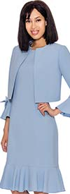 Nubiano Dresses DN3292-Perri - Flounce Hem Dress With Bow Accented Bell Sleeves