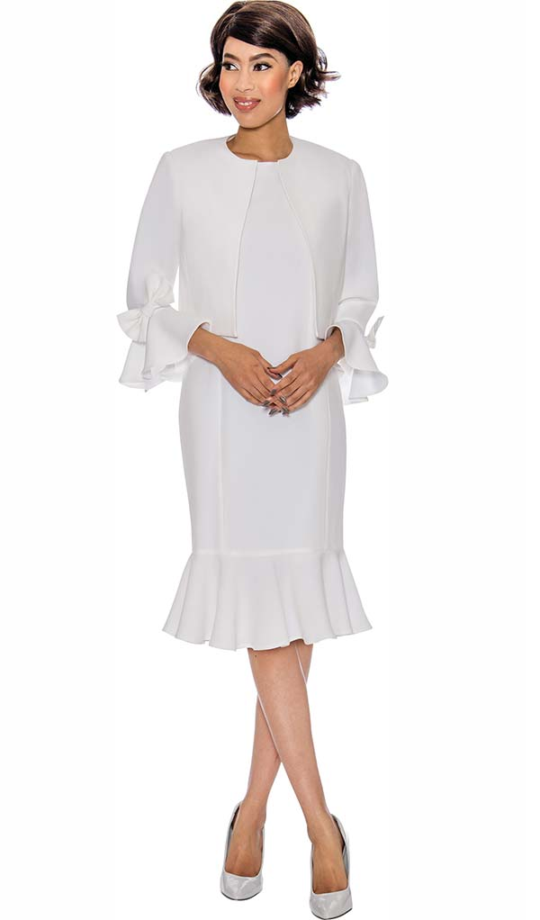 Nubiano Dresses DN3292-White - Flounce Hem Dress With Bow Accented Bell Sleeves