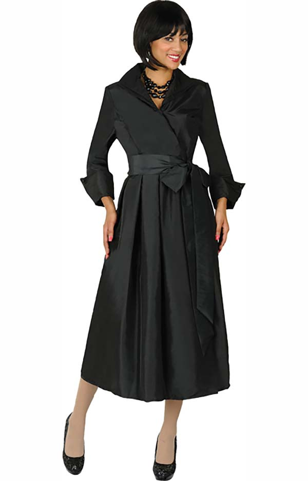 Nubiano Dresses DN5371-Black - Wing Collar Pleated Wrap Dress With Sash