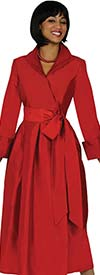 Nubiano Dresses DN5371-Red - Wing Collar Pleated Wrap Dress With Sash
