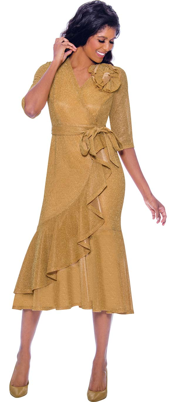 Nubiano Dresses DN2411-Gold - Vee Neckline Ruffle Detailed Flounce Hem Dress With Sash