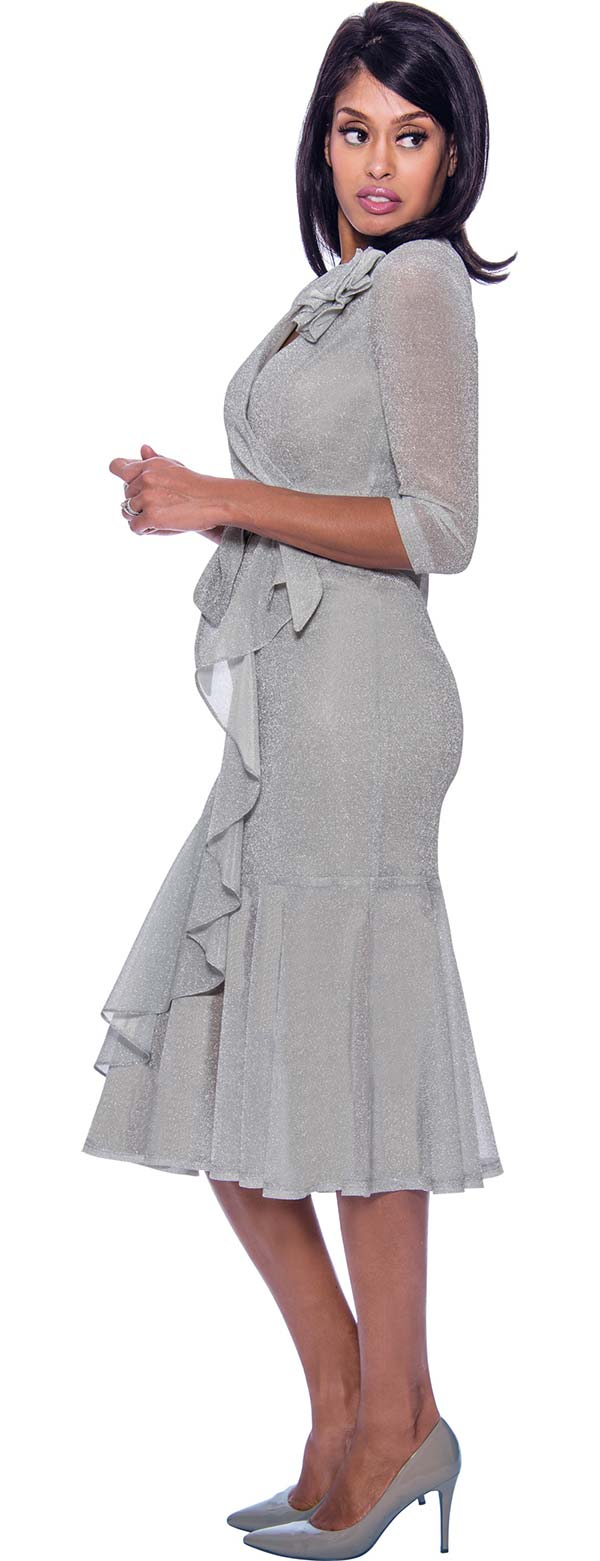 Nubiano Dresses DN2411-Silver - Vee Neckline Ruffle Detailed Flounce Hem Dress With Sash