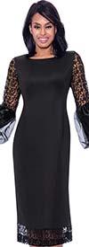 Nubiano Dresses DN2421 - Sheath Dress With Lace Trim & Organza Puff Cuff Sleeves