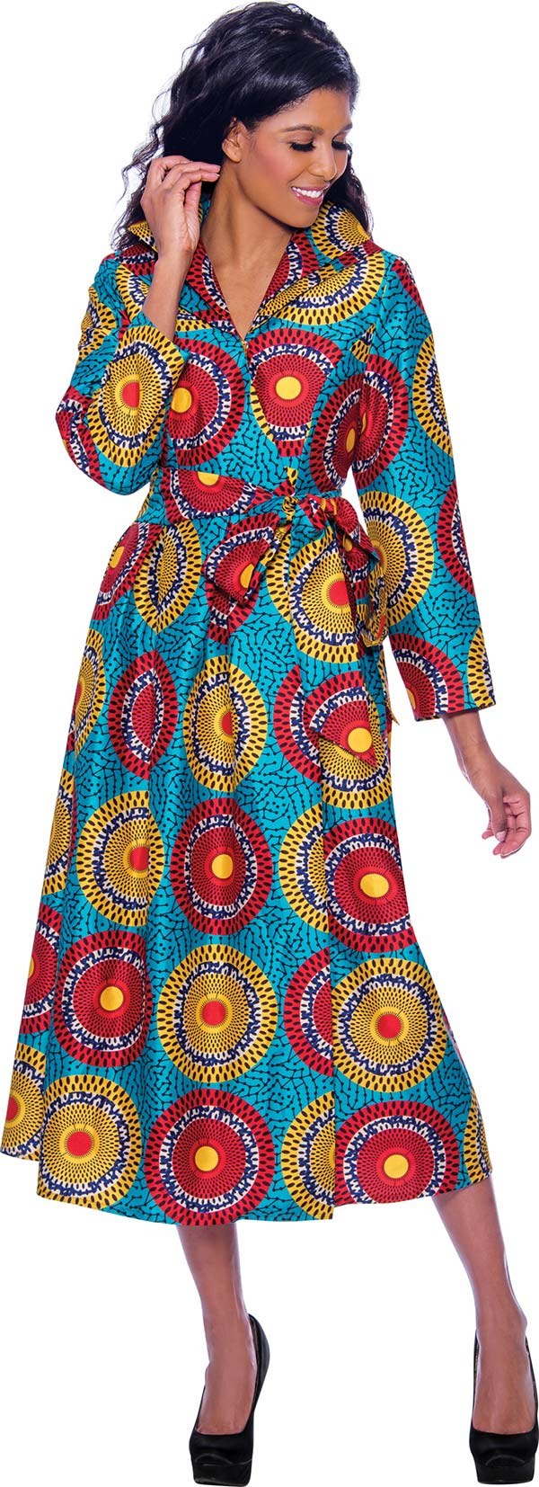 Nubiano Dresses DN2431 - Multi Color Sphere Print Wrap Style Dress With Sash