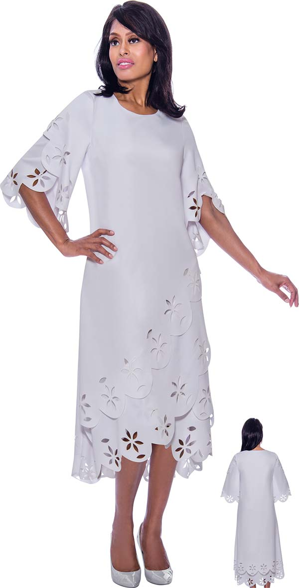 Nubiano Dresses DN2451 - A-Line Bell Sleeve Dress Wtih Layered Cut-Out Design