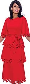 Nubiano Dresses DN2461-Red - Multi Tier Style Bell Sleeve Pointed Cut-Out Trim Dress With Sash