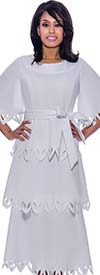 Nubiano Dresses DN2461-White - Multi Tier Style Bell Sleeve Pointed Cut-Out Trim Dress With Sash