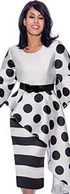 Nubiano Dresses DN2521-WhiteBlack - Polka Dot & Stripe Print Half Peplum Dress With Belt