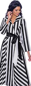 Nubiano Dresses DN2561 - Striped Wrap Style Dress With Sash