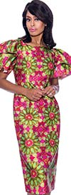 Nubiano Dresses DN2581 - Ruffle Sleeve Dress With Bold Kaleidoscope Effect Print