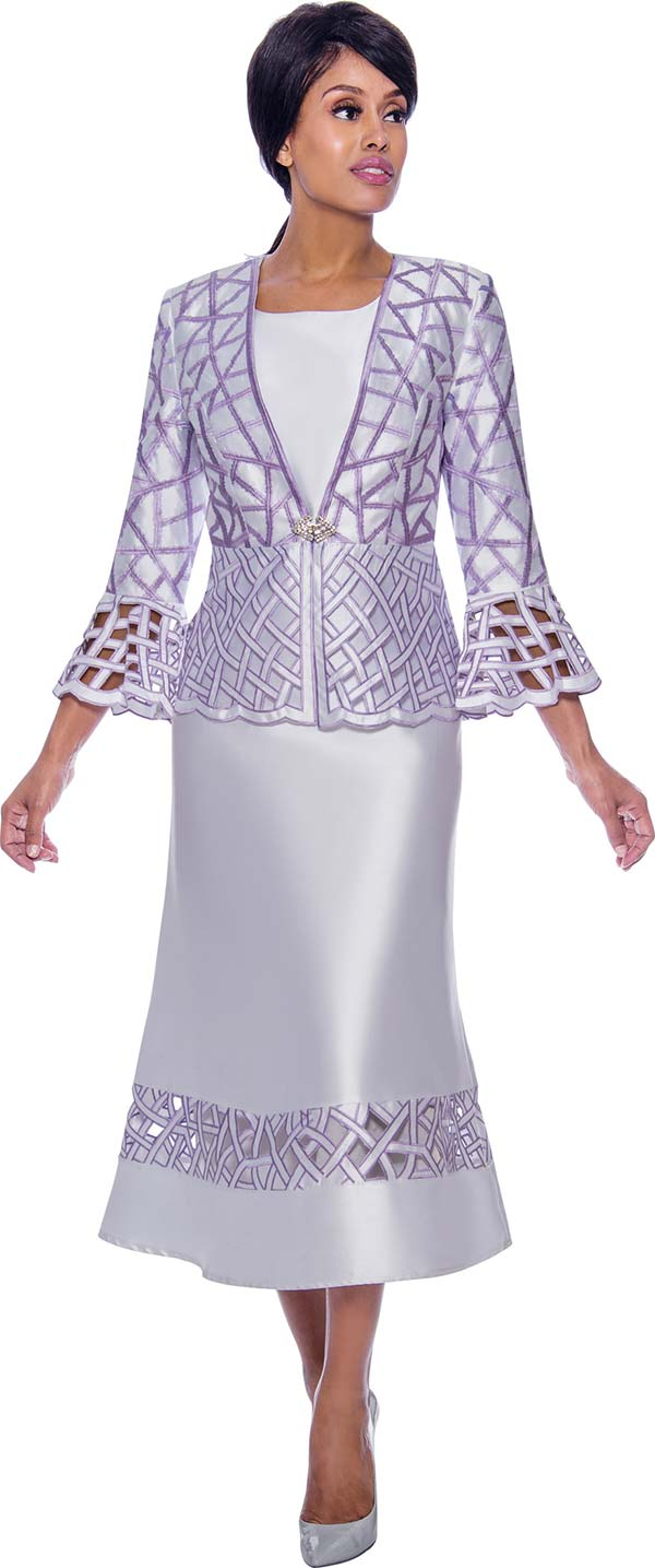 Nubiano Dresses DN2662 - Flared Church Dress With Bell Cuffs In Lattice Cut-Out Design