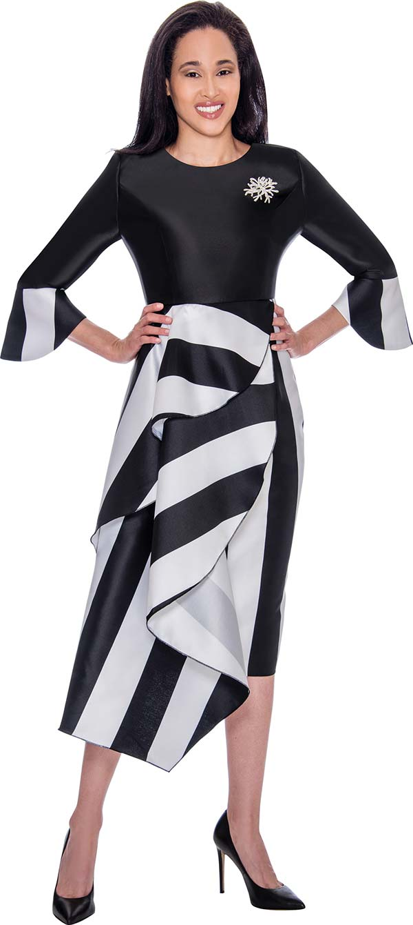 Nubiano Dresses DN2751 - Striped Bell Cuff Dress With Solid Bodice Featuring Half Waist Cape