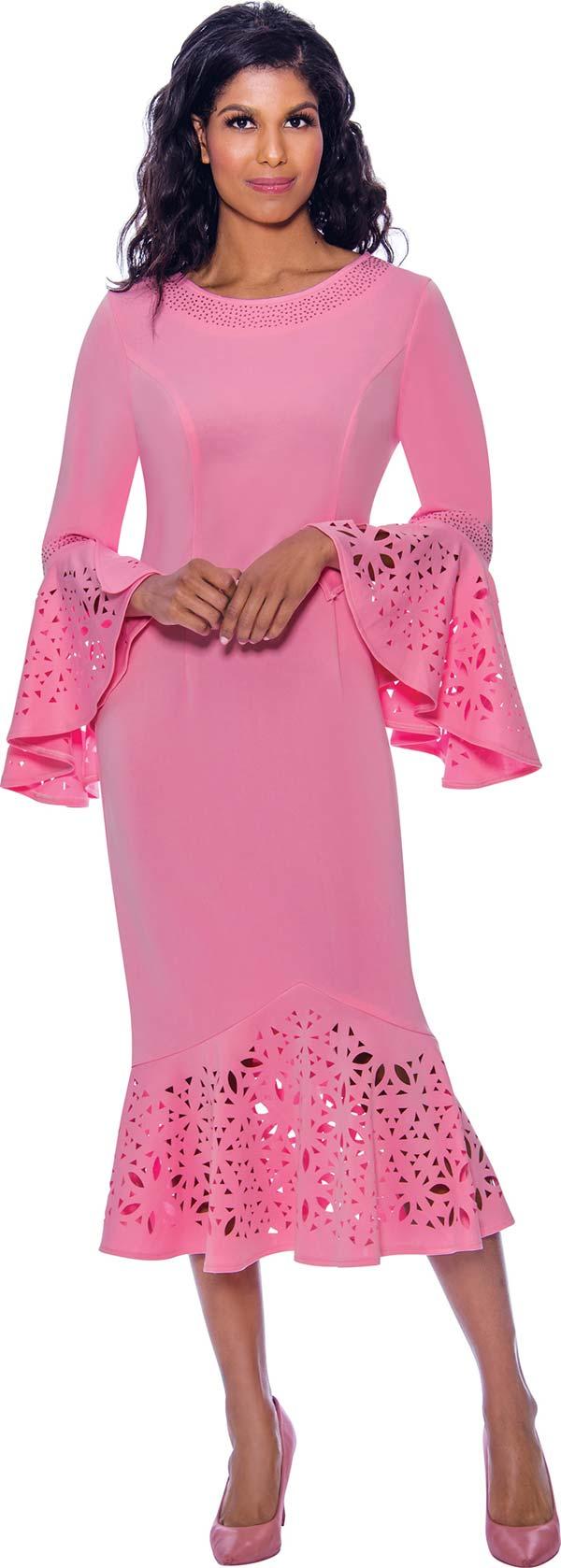 Nubiano Dresses DN2761-Pink - Rhinestone Embellished Boat Neckline Flounce Hem & Cuff Dress With Cut-Out Design