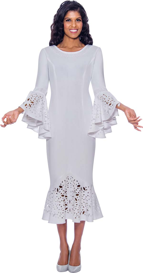 Nubiano Dresses DN2761-White - Rhinestone Embellished Boat Neckline Flounce Hem & Cuff Dress With Cut-Out Design