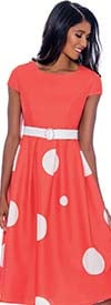 Nubiano Dresses DN1781 - Womens Polka-Dot Cap Sleeve Dress With Embellished Belt Detail