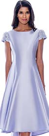 Nubiano Dresses DN2001-Lavender - Pearl Embellished Cap Sleeve High-Low Dress
