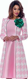 Nubiano Dresses DN2301-Pink/Green - Long Sleeve Womens Dress In Expanded Houndstooth Print With Flower Adornment
