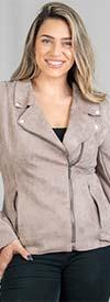 FAN-3753-Taupe - Womens Long Sleeve Faux Suede Moto Style Jacket