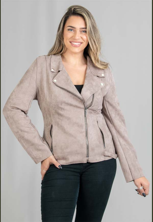 FAN-3753-Taupe - Womens Long Sleeve Faux Suede Moto Style Jacket