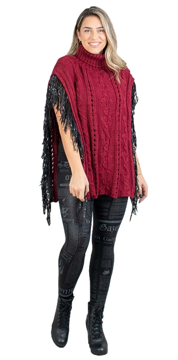 FAS-FP60448-Burgundy - Womens Fringe Trim Turtleneck Knit Poncho
