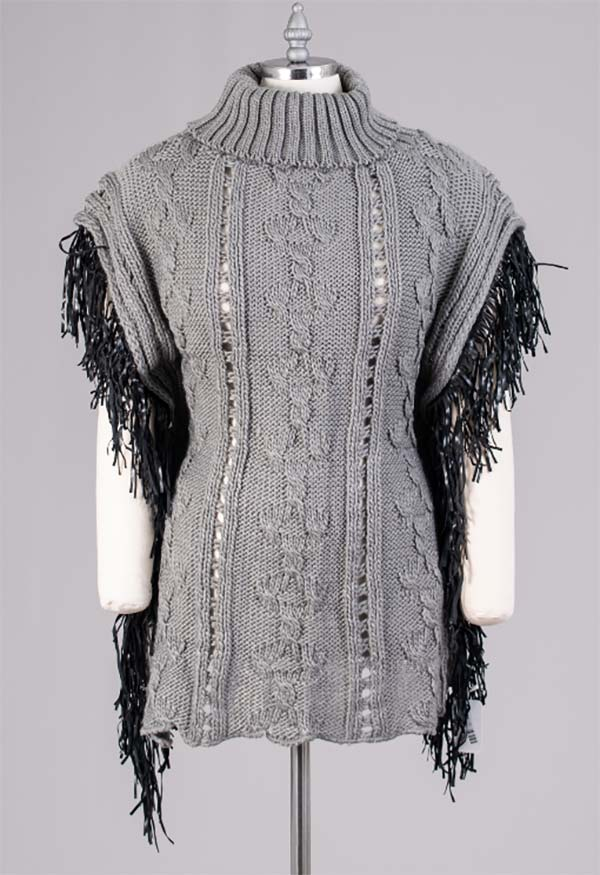 FAS-FP60448-Gray - Womens Fringe Trim Turtleneck Knit Poncho