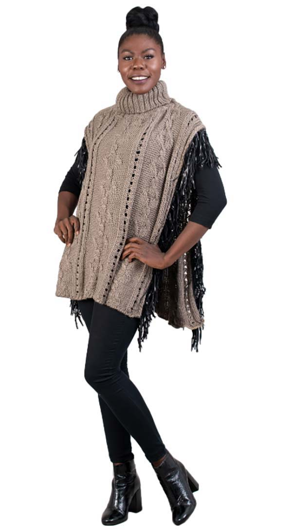 FAS-FP60448-Khaki - Womens Fringe Trim Turtleneck Knit Poncho