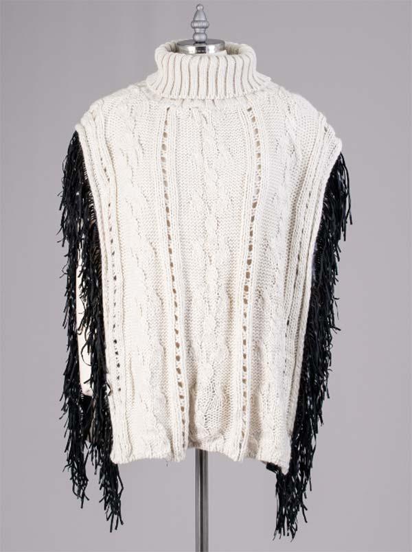 FAS-FP60448-White - Womens Fringe Trim Turtleneck Knit Poncho