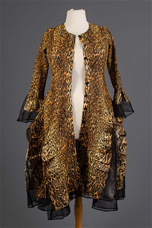 JER-SR113-Leopard - Womens Long Sleeve Sheer Ruffle Hem Duster Dress