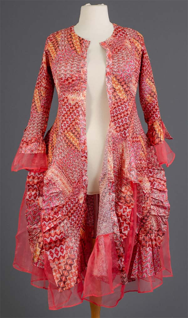 JER-SR113-PinkFlower - Womens Long Sleeve Sheer Ruffle Hem Duster Dress