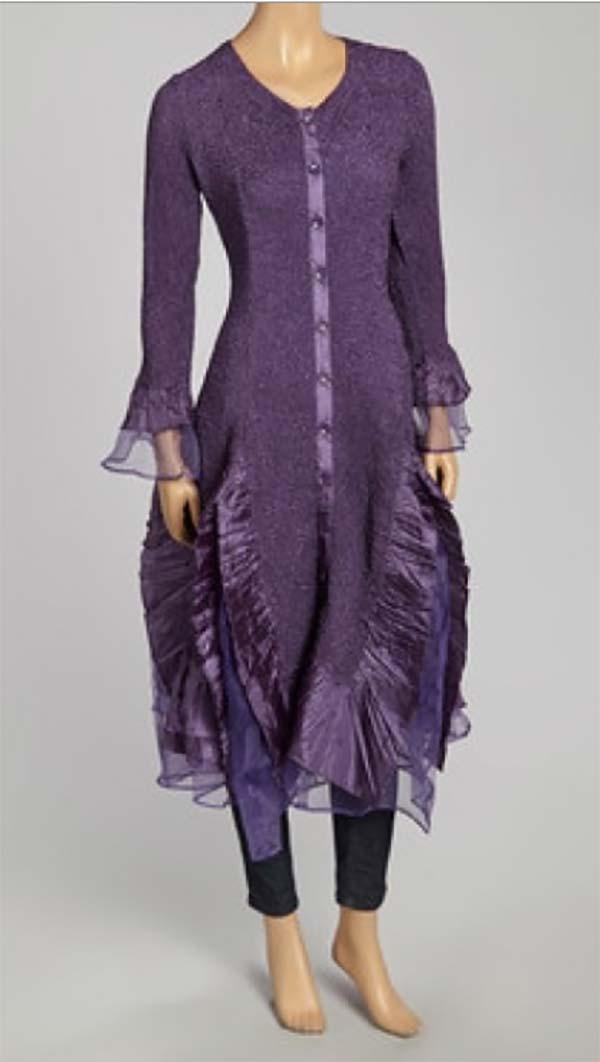 JER-SR113-Purple - Womens Long Sleeve Sheer Ruffle Hem Duster Dress