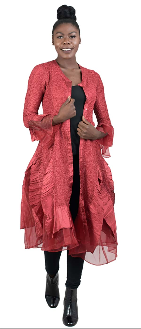 JER-SR113-Red - Womens Long Sleeve Sheer Ruffle Hem Duster Dress