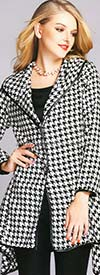 JER-SR7019 - Womens Houndstooth Wide Collar Sidetail Jacket