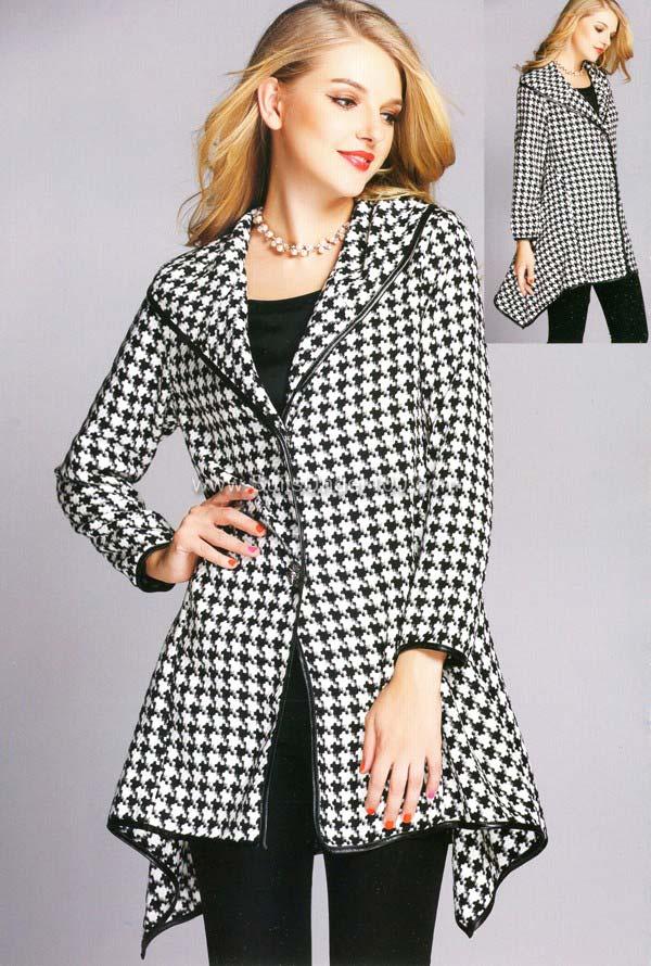 JER-SR7019 - Womens Houndstooth Wide Collar Sidetail Jacket