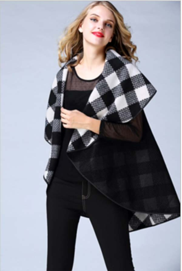 JER-SR7070-Black - Womens Wide Collar Reversible Plaid Lurex Cape Vest