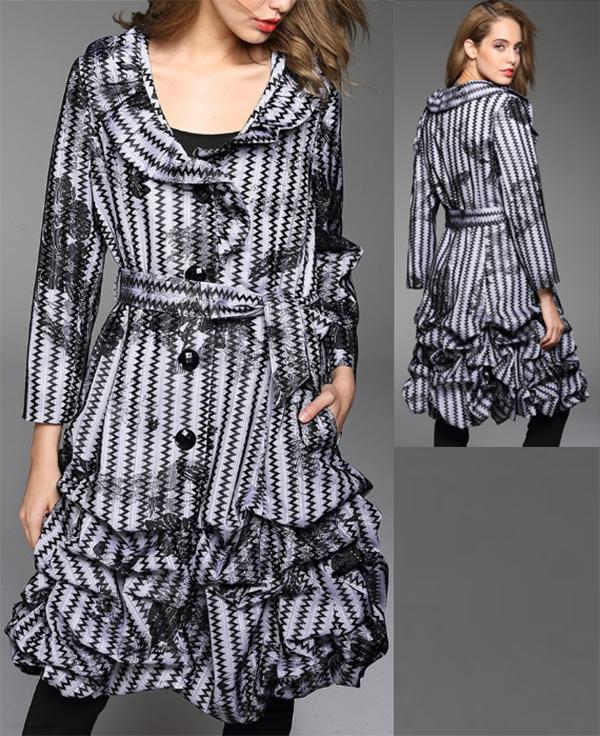 JER-SR7129-BlackWhite - Womens Bottom Ruffle Tie Waist Lined Jacket