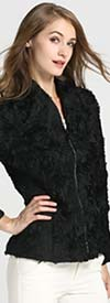 JER-SR7170-Black - Womens Cuffed Sleeve Rhinestone Zipper Floral Jacket
