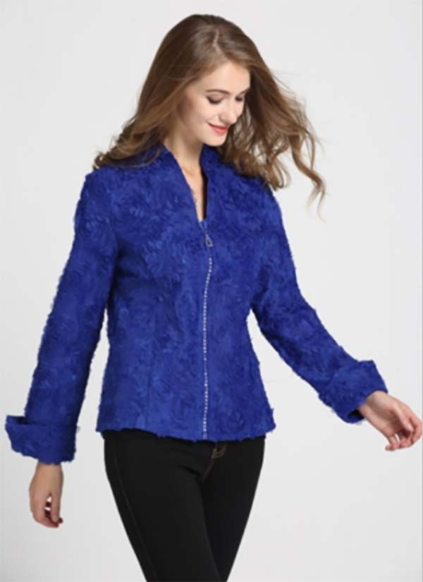 JER-SR7170-Blue - Womens Cuffed Sleeve Rhinestone Zipper Floral Jacket