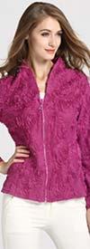 JER-SR7170-Fuchsia - Womens Cuffed Sleeve Rhinestone Zipper Floral Jacket