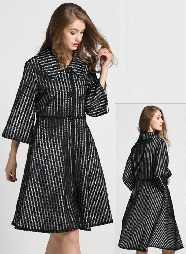 JER-SR7177-Black - Womens Stripe Mesh Lined Button-Up Dress Jacket