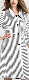 JER-SR7177-White - Womens Stripe Mesh Lined Button-Up Dress Jacket