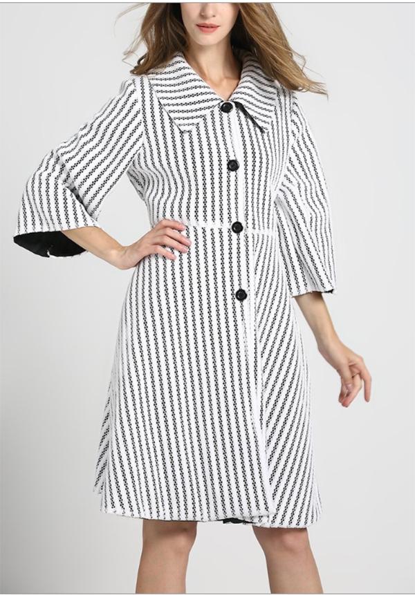 JER-SR7177-White - Womens Stripe Mesh Lined Button-Up Dress Jacket