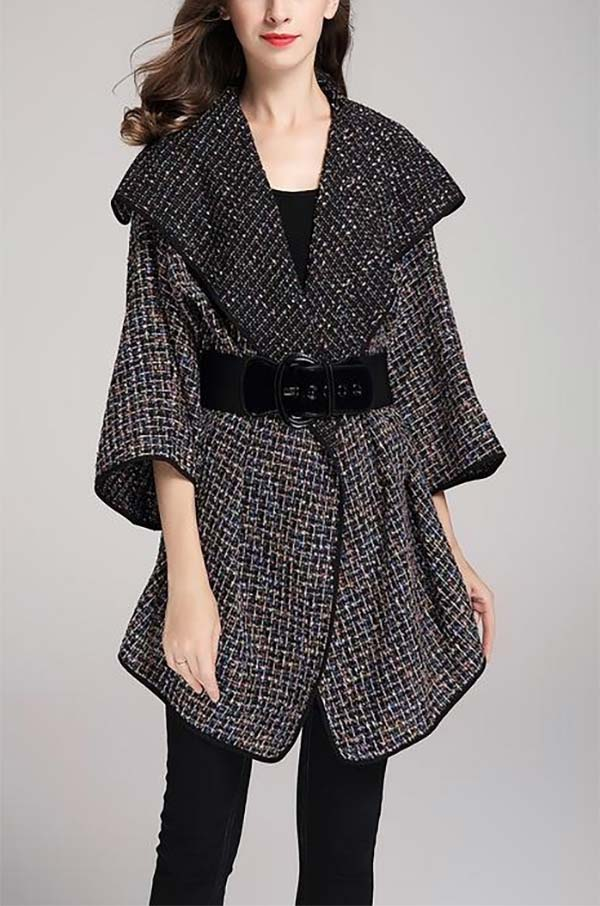 JER-SR7182-Black - Womens Wide Collar Tweed Belted Open Jacket