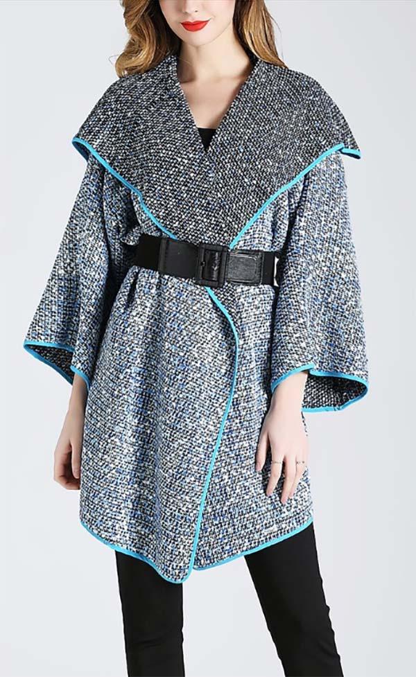 JER-SR7182-BlueBlack - Womens Wide Collar Tweed Belted Open Jacket