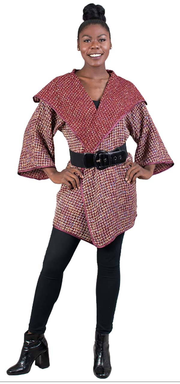 JER-SR7182-Fuchsia - Womens Wide Collar Tweed Belted Open Jacket
